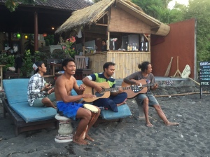 Locals playing music on the beach