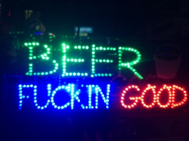 Alcohol sign outside of restaurant