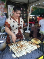 Grilling bananas in Chiang Mai