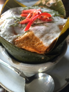 Fish Amok - fish & coconut broth steamed in a banana leaf.