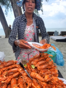 Shrimp vendor on the beach