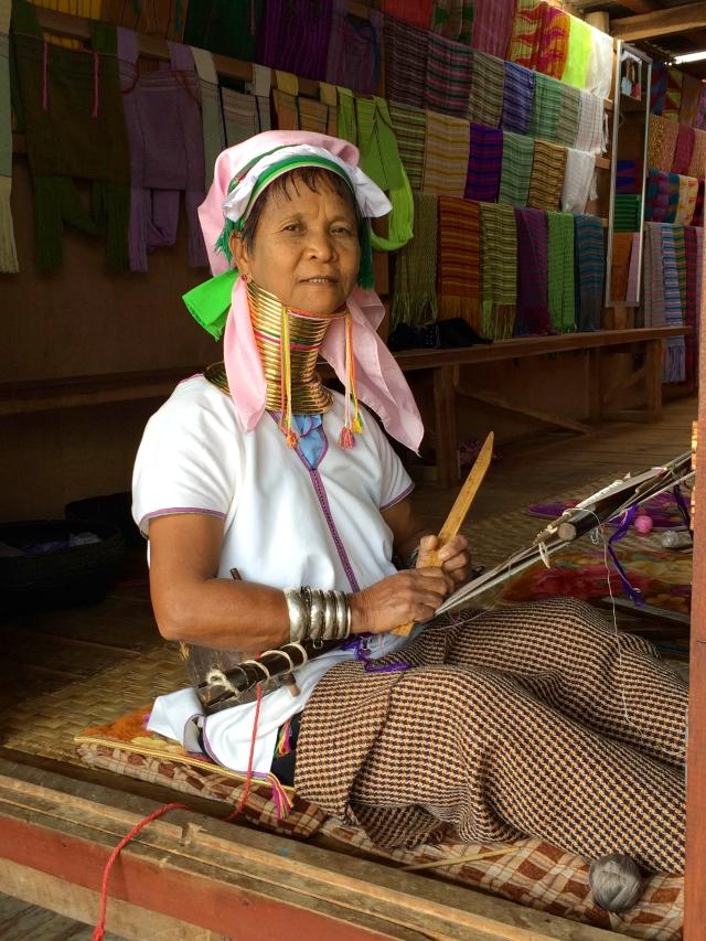 Kayan Lahwi tribal woman sewing