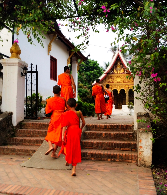 Monks returning to the wat from the alms ceremony