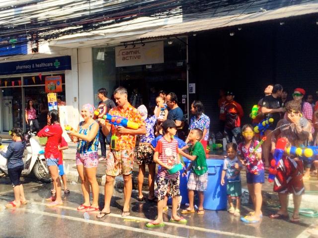 People splashing water during Songkran
