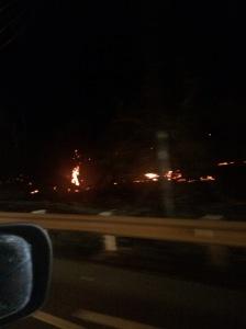 Fires still burning roadside