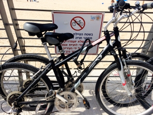 Bikes parked in the no parking area on Yom Kippur