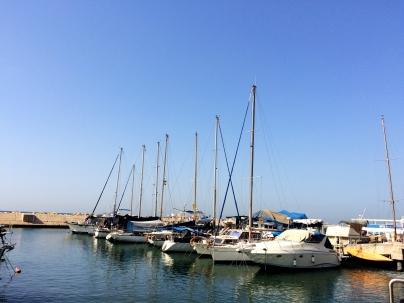 Boats parked at Jaffa port