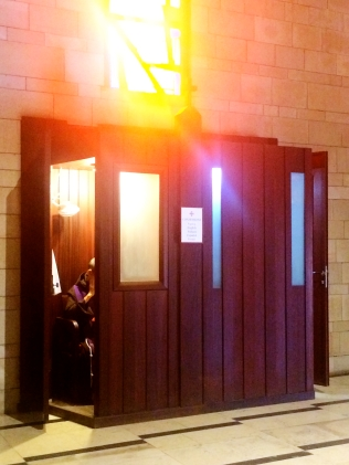 Confession booth at the Church of the Annunciation
