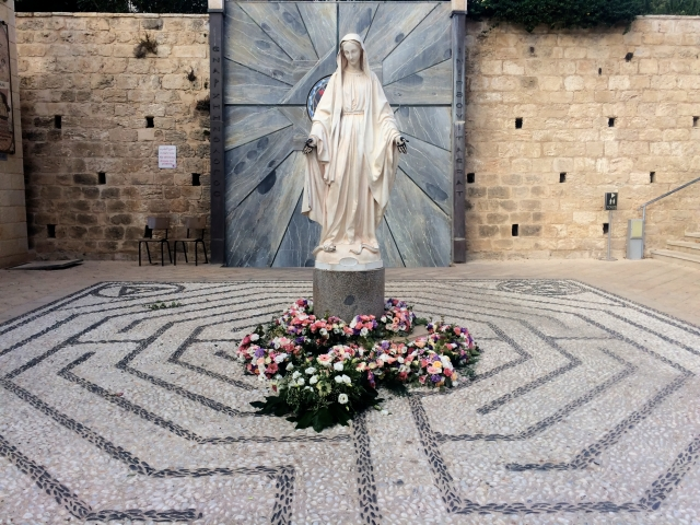 Statue of Mary outside of the Church of the Annunciation