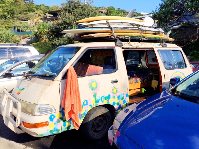 Surfer living out of a van