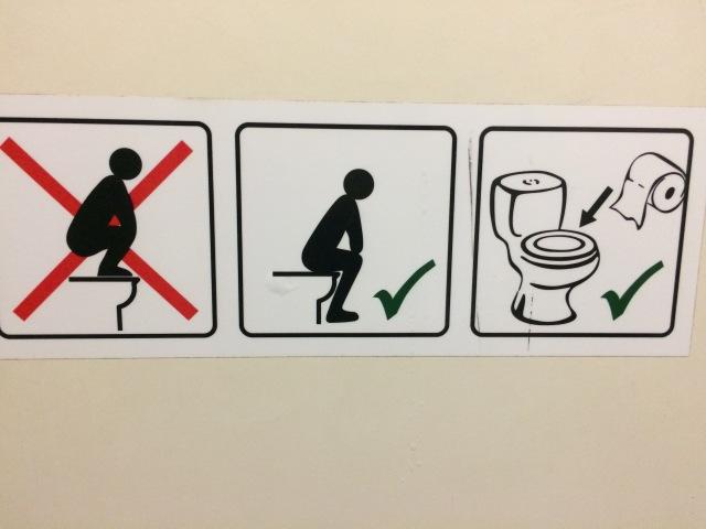 in the women's public bathroom