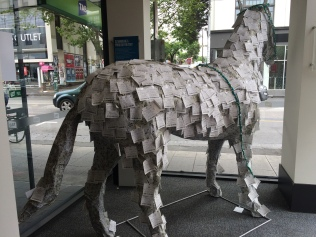 Window display at the TAB betting station in Melbourne