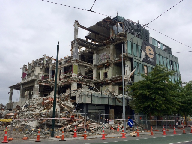 Building from earthquake in Christchurch, New Zealand
