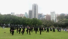 Domestic workers learning judo on Sunday in the park